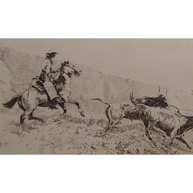 "Edward Borein -Cowboy rounding up Cattle -1930s Etching Etching on paper under-glass, Oak Frame frame size 20 x 16"" paper..."