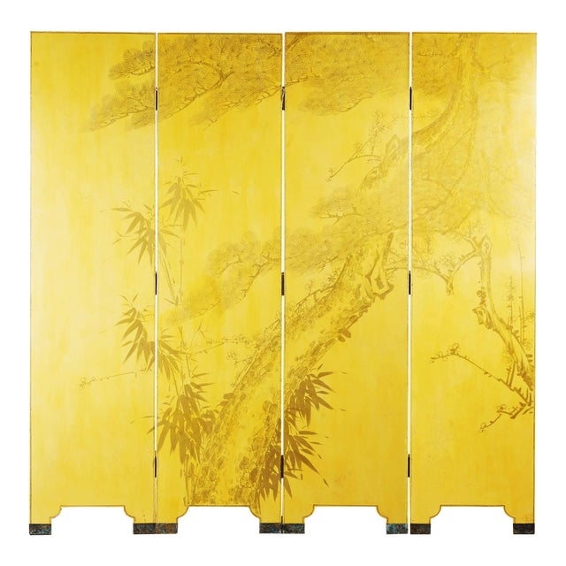 Double-Sided Leather Wisteria Scene 4 Panel Room Divider Screen in Mustard Yellow by Lawrence & Scott For Sale