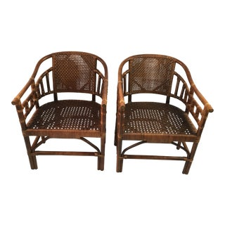 1960s Chippendale Rattan Barrel Back Chairs - a Pair For Sale