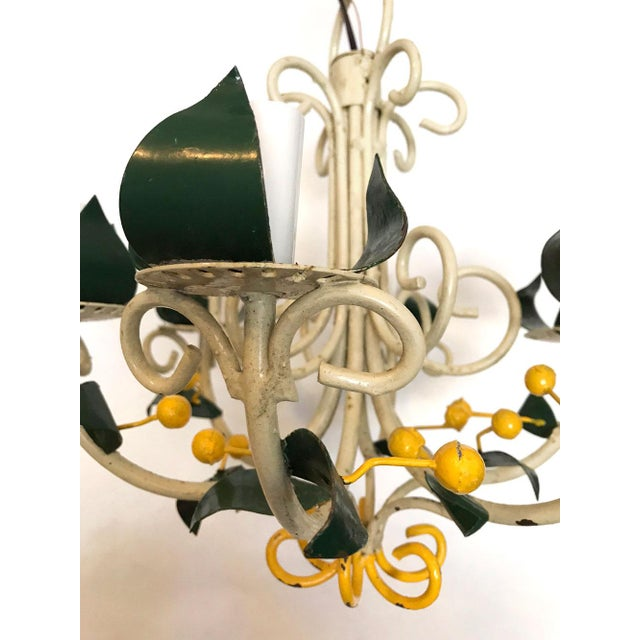 Abstract Vintage Tole Floral Chandelier For Sale - Image 3 of 9
