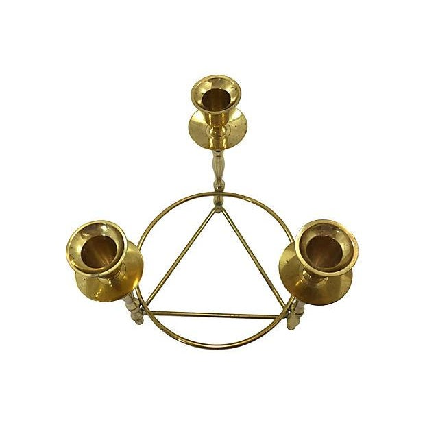 Brass Deco-Style Tripod Candelabra - Image 3 of 4