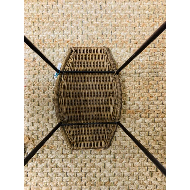 Wicker Mid-Century Modern Wrought Iron and Wicker Bar Stools by Arthur Umanoff - a Pair For Sale - Image 7 of 9