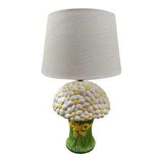 Rare Vintage Paul Hanson Large Daisy Bouquet Ceramic Table Lamp W/ Shade For Sale