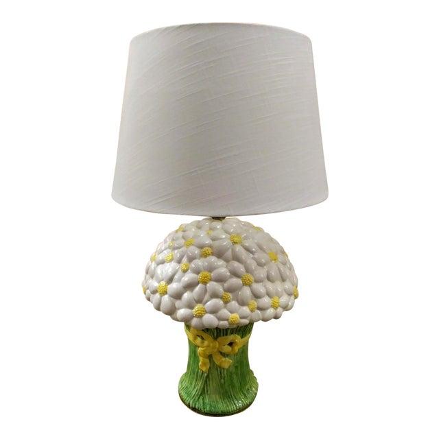 Rare Vintage Paul Hanson Large Daisy Bouquet Ceramic Table Lamp W/ Shade For Sale