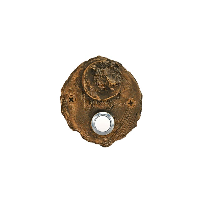 Log End Bear Doorbell, Traditional Patina For Sale