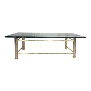 Brass Faux Bamboo & Glass Coffee Table For Sale