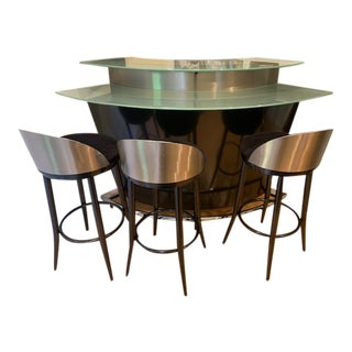 Scandinavian Design Bar With Rotating Stools Set For Sale