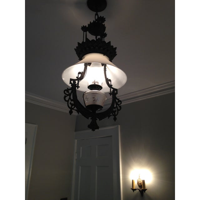 Traditional Victorian Cast Iron Pendant Light For Sale - Image 3 of 4