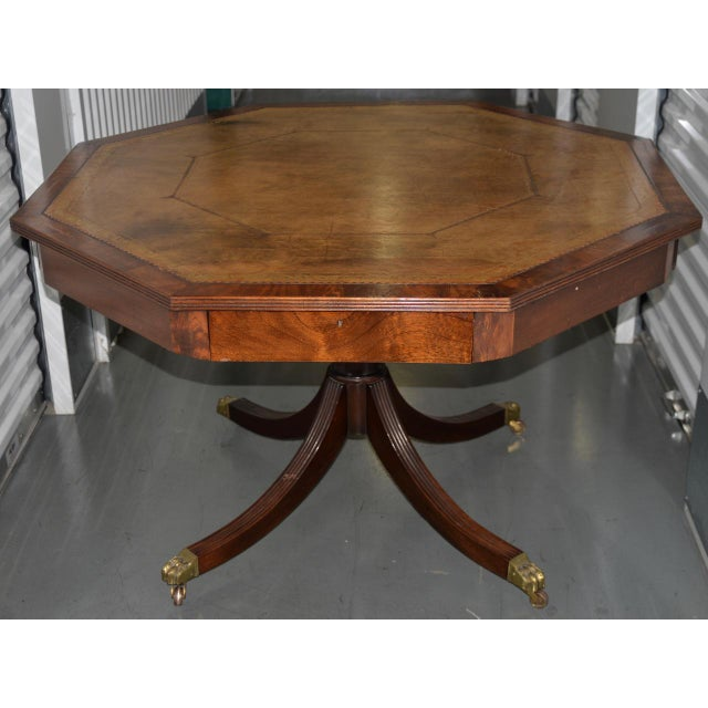 19th Century Mahogany & Embossed Leather Octagonal Rent Table For Sale - Image 10 of 10