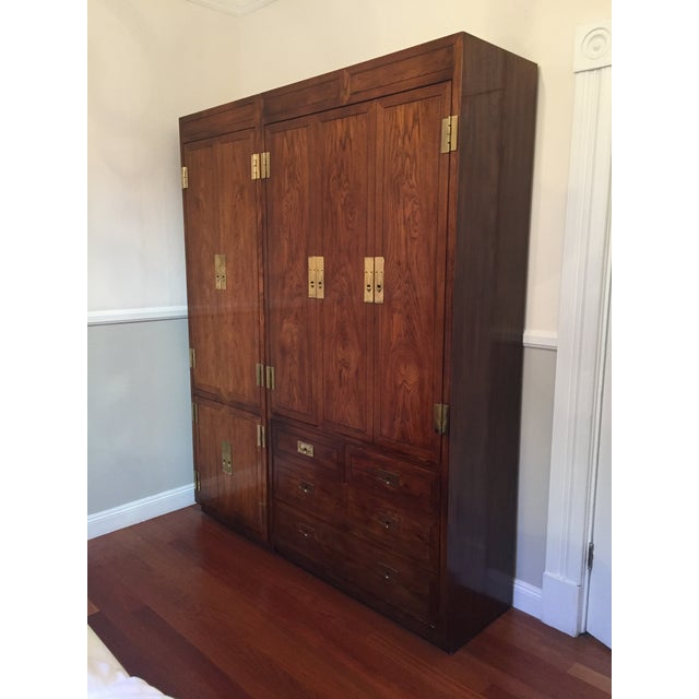Campaign Style Henredon Pecan Double Armoire With Brass Pulls For Sale - Image 10 of 10
