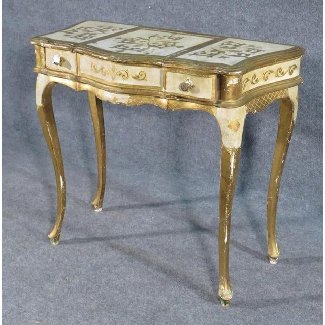Florentine Italian Gilded Gold Leaf Ladies Mirrored Vanity Makeup Table C1920 For Sale - Image 4 of 10