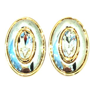 20th Century Givenchy Silver & Gold Swarovski Crystal Earrings For Sale