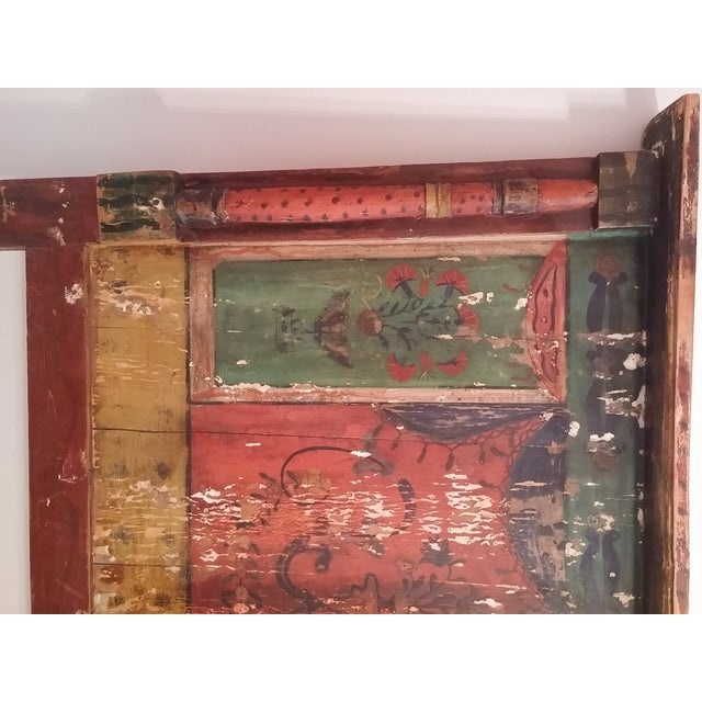 Antique Primitive Painted Red Headboard - Image 4 of 10