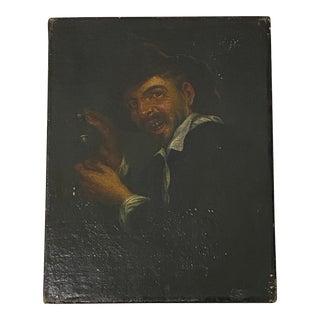 18th C. European School Male Oil Portrait For Sale