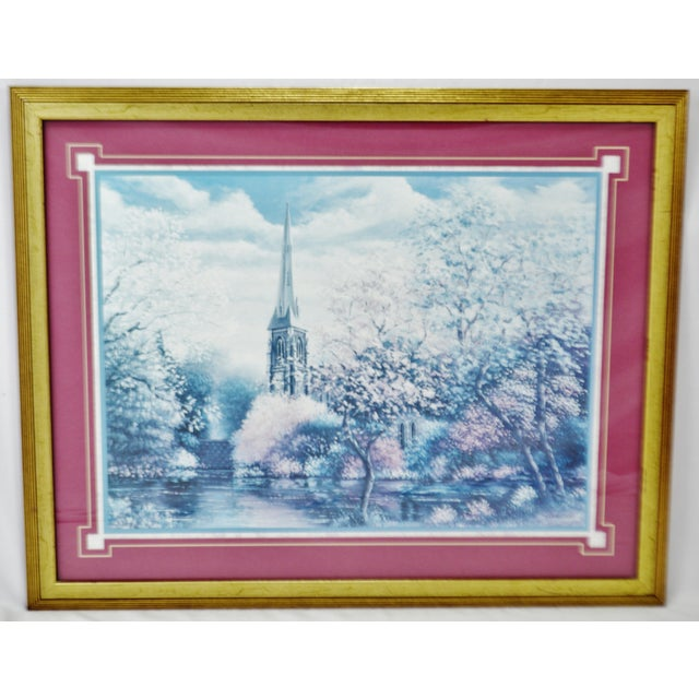 Traditional Vintage Framed Sambataro Church Steeple Print For Sale - Image 3 of 12