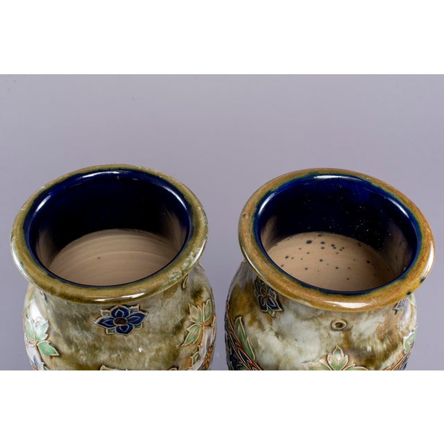 Pair Tall Royal Doulton Art Nouveau Lambeth Vases by Winnie Bowstead For Sale In Detroit - Image 6 of 7