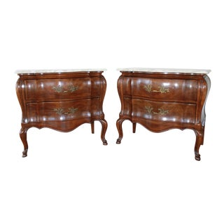 1970s French John Widdicomb Walnut Bombe Chests - a Pair