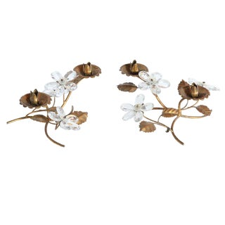 1940s Italian Ornate Crystal Floral Candle Holder - a Pair For Sale