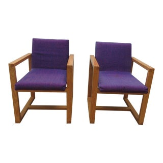 Vintage Oak Cube Bentwood Club Chairs - A Pair