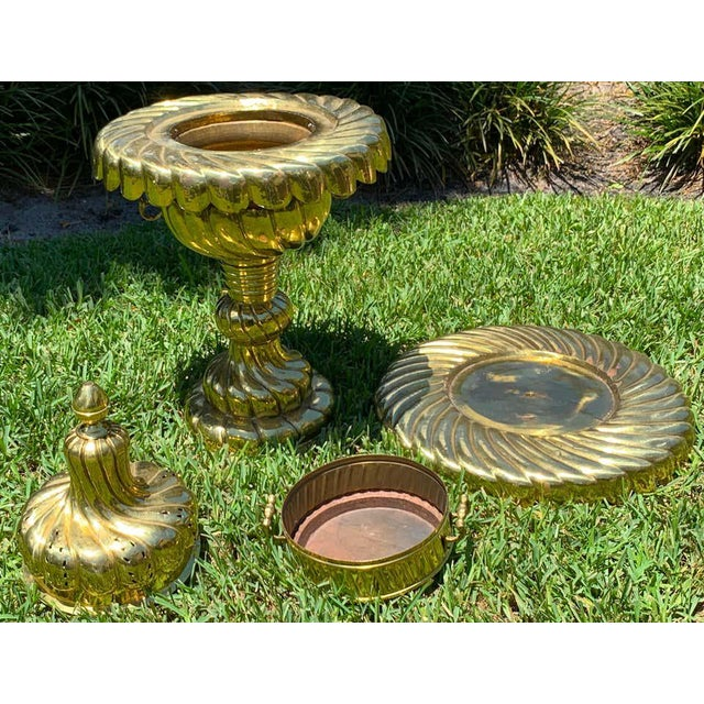 Large Turkish Spiral Brass Brazier For Sale - Image 9 of 12