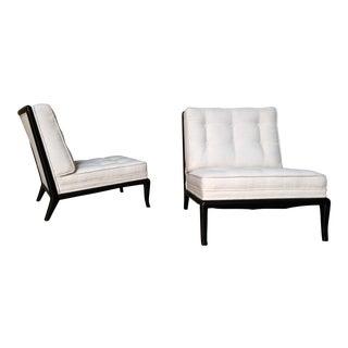 Robsjohn-Gibbings Style Ebonized Lounge Chairs - a Pair