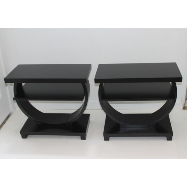 Modernage Brown Saltman Side Tables Art Deco 1930s 3-Tiers Ebonized - a Pair For Sale - Image 11 of 13
