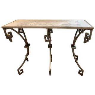 Jonathan Charles Marble-Top Designer Metal Design Console Table For Sale