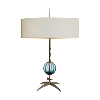 Contemporary Blue Glass & Nickel Table Lamp