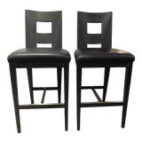 Image of Berman Rosetti Stools in Black With Black Leather Seats- a Pair For Sale