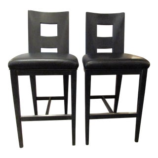 Berman Rosetti Stools in Black With Black Leather Seats- a Pair For Sale