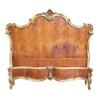 1930s French Provincial Walnut Matched Burl Full/Queen Bedframe For Sale