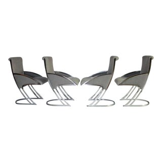 Set of Four Chrome Dining Chairs For Sale