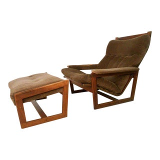 Vintage Modern Lounge Chair with Ottoman