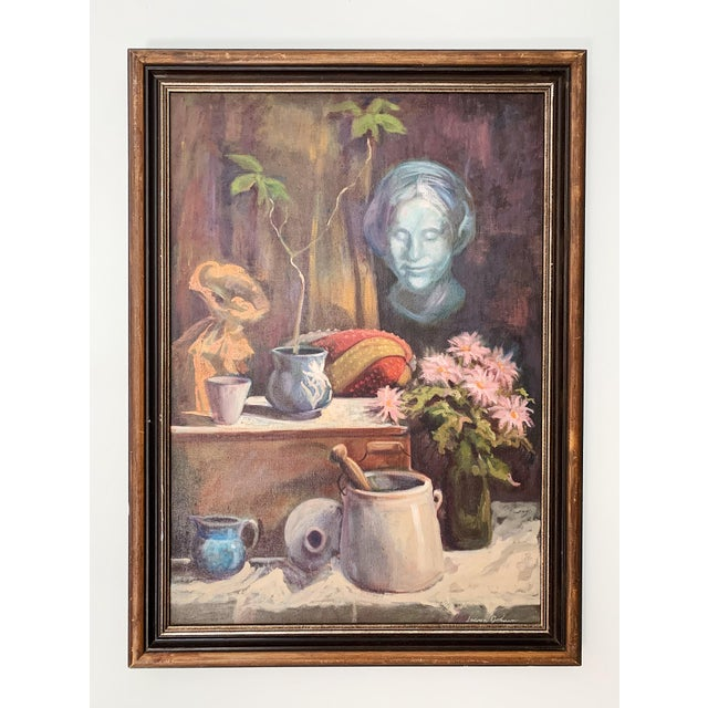 Framed vintage oil on canvas still life painting by Sharon Johnson, circa 1960s. The piece is in excellent condition.