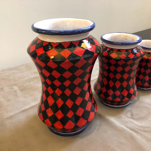 Pieces Hand Painted Sicilian Terracotta Albarello Vases - Set of 3 For Sale - Image 10 of 11