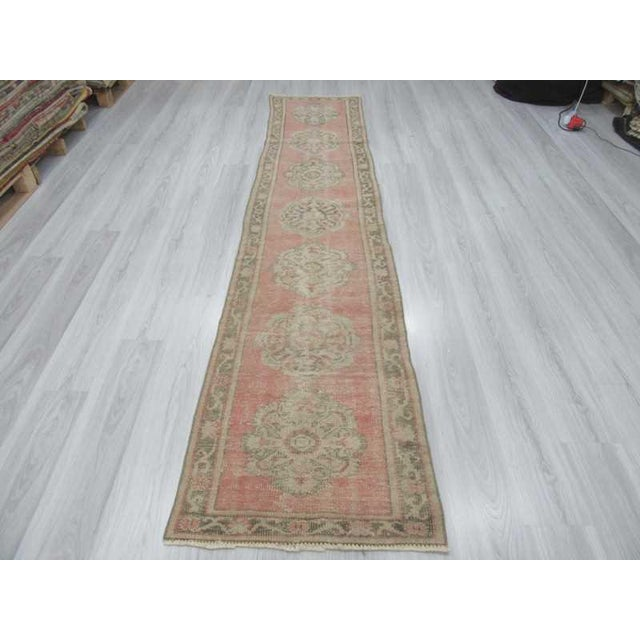 Vintage Worn Out Turkish Oushak Runner Rug - 2′5″ × 11′2″ - Image 3 of 6