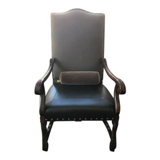 Carved Leather and Mohair Arm Chair