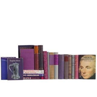 British History in Purple & Grey : Set of Twenty Decorative Books For Sale
