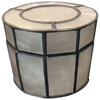 1970s Boho Chic Capiz Shell Round Box For Sale