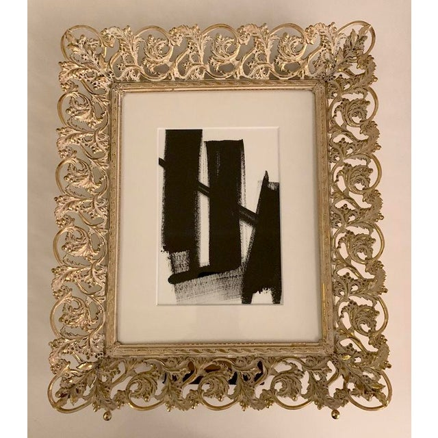 Original Black and White Painting in Vintage Gold Frame For Sale - Image 4 of 4