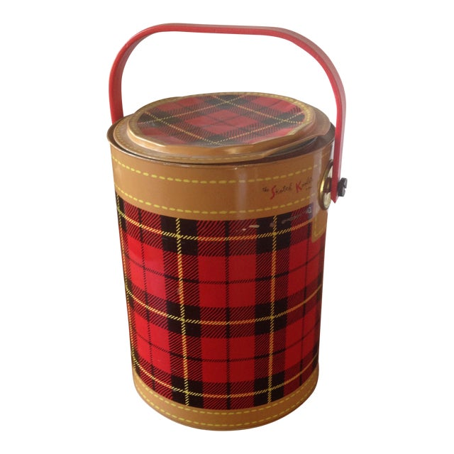 Mid Century Metal Plaid Cooler/Ice Bucket - Image 1 of 11