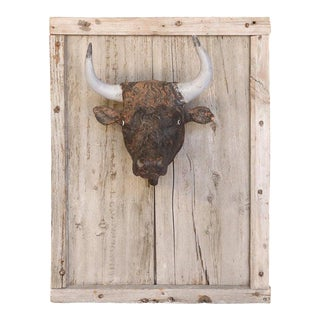 Antique French Terracotta Bull Head on Wood Frame For Sale