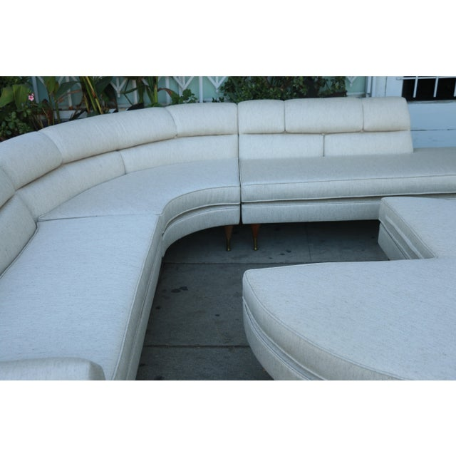 Fabric 1960s Mid Century Modern 4 Piece Sectional and Ottoman - Set of 4 For Sale - Image 7 of 10