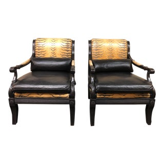Contemporary Ethan Allen Reptile Print Leather Chairs - a Pair