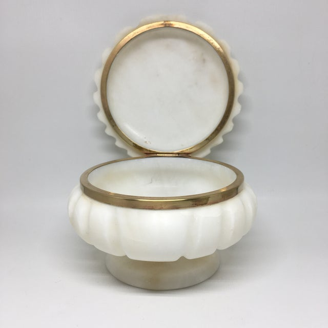 Alabaster and Brass Shell Lidded Box For Sale - Image 10 of 12