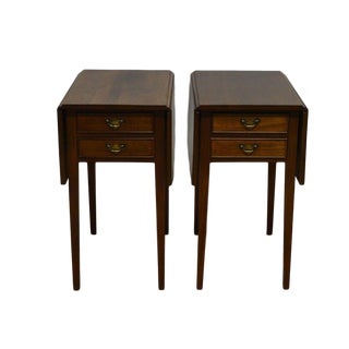 Craftique Solid Mahogany Pembroke End Tables Nightstands - a Pair