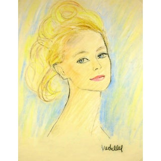 French Woman Portrait in Oil Pastel For Sale