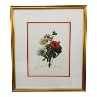 Vintage Framed Floral Print For Sale