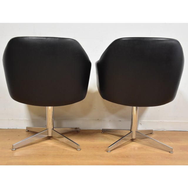 Steelcase Black & Chrome Lounge Chairs - A Pair - Image 6 of 9