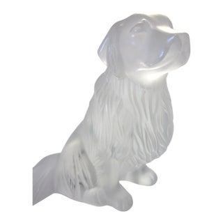 Modern Lalique Art Glass Clear Satin Glass Golden Retriever Dog Figurine For Sale